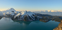 Morning Taste of Garibaldi Lake (Christopher J. Morley) Tags: park morning friends light panorama lake snow canada mountains color colour bc view columbia hike ridge british garibaldi provincial takenfrom