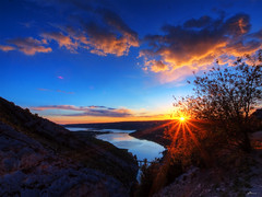 verdon gorge (paul bica) Tags: sunset sky sun lake france colour tree green nature set clouds river de french paul outdoors evening spring high europe view wind turquoise may lac grand art