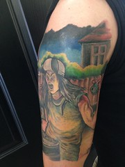 Municipal waste half sleeve tattoo by Wes Fortier - Burning Hearts Tattoo Co. 1430 Meriden Rd.  Waterbury, CT