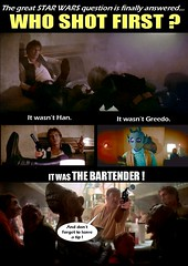 STAR WARS : WHO SHOT FIRST ? featuring Han Solo and Greedo (DarkJediKnight) Tags: movie poster four starwars 4 humor harrisonford fake parody spoof iv cantina bartender episode hansolo shootout motivational greedo anewhope