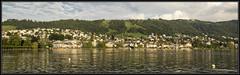Zug & Zugersee (Ciao Anita!) Tags: friends panorama lake mountains reflection montagne lago switzerland meer zug photomerge bergen svizzera reflexions veduta cityview riflesso zugersee weerspiegeling zwitserland townview stadsgezicht theperfectphotographer cantonofzug