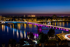 Varadin Bridge (Marko Grk) Tags: city bridge color night serbia novisad petrovaradin dunav varadin