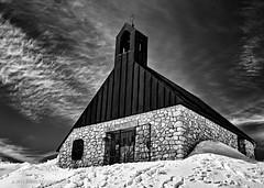"""Chapel """"Maria Heimsuchung"""" (Joerg Rockenberger) Tags: sky mountain snow church clouds germany landscape bavaria blackwhite garmischpartenkirchen zugspitze"""