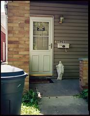 Welcome Steelers Jesus (joespix) Tags: film statue analog trash fuji jesus porch welcome ambridge fujiga645 nph400 pittsburghsteelers ambridgepa