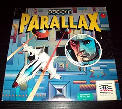 03 Mindscape - Parallax by Ocean (1986), Disk sleeve front (Ocean & Imagine Collection) Tags: ntsc parallax 1986 mindscape sensiblesoftware chrisyates oceansoftware jonhare