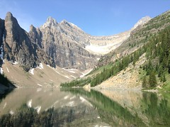 Banff NP ~ Agnes Lake (karma (Karen)) Tags: trees canada mountains topf25 reflections lakes pines alberta lakelouise ipad banffnp agneslaketeahousetrail