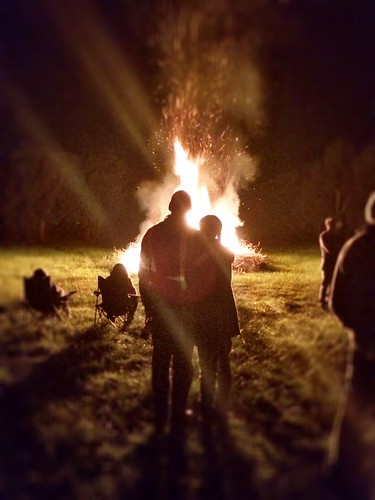 J&G in front of their solstice bonfire