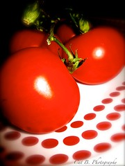 Tomatoes on Plate (Cat B Photography) Tags: morning red plant nature vegetables fruit canon garden redwhite tomatoes grow plate seeds polkadots target veggies dots goodmorning thursday homegrown justpicked tomatoesonthevine