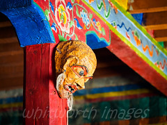 Masks in Monastery (whitworth images) Tags: nepal red man building male face crimson person wooden scary worship asia mask buddhist painted religion evil monk buddhism nobody nopeople beam indoors monastery tibetan column mustang himalaya nepali gompa rafter restrictedarea gomba uppermustang lomanthang annapurnaconservationarea