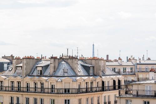 Vue sur la Tour Eiffel depuis les toits de Paris