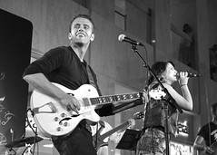 Nicole Rayy at First Canadian Place, Toronto (Richard Wintle) Tags: blackandwhite bw musician toronto ontario canada monochrome downtown guitar country financialdistrict singer onstage guitarist songwriter fcp firstcanadianplace waterfallstage