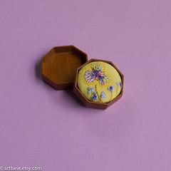 Octagonal pendant wild flowers (marcoandbetty) Tags: octagon brooch pin pendant embroidery needlework stitchery hand yellow flower wild artbase woodwork bezel setting jewerly wearable