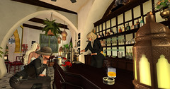 Evening at the monkey bar (Teddi Beres) Tags: second life sl ricks bar monkey funny silly blonde drink adventure treasure mystery intrigue lamp cigarette bartender starlet exotic