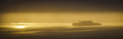 Alcatraz in the sunrise fog (nprisadnikov) Tags: alcatraz morning california sanfrancisco sunrise fog contaxsonnar135mmf28 contax sonnar zeiss 135mm panorama golden state