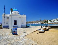 Harbor at Mykonos, Greece (` Toshio ') Tags: toshio mykonos greece greek europe european europeanunion mykonostown island harbor boat church bluedomedchurch greekorthodox path sidewalk fujixe2 xe2
