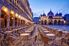 Piazza San Marco at Dawn (Barry O Carroll Photography) Tags: cafe chairs empty basilicasanmarco stmarksbasilica piazzasanmarco stmarkssquare buildings dawn morning bluehour silent church venice venezia italy italia city cityscape urbanlandscape travel longexposure slowshutterspeed
