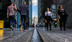 Coming and Going (Gordon McCallum) Tags: towerbridge london londonengland bluesky tallbuildings people walkway waterfeature architecture architecturaldesign sony sonya6000 streetscene morelondonplace