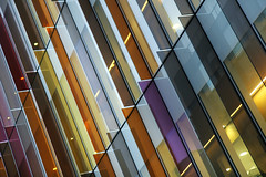 - coloured glass (2) - (Jacqueline ter Haar) Tags: departmentofbiochemistry university oxford hawkinsbrown architects facade colourful