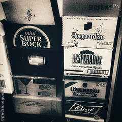 Booze (Pedro Nogueira Photography) Tags: pedronogueiraphotography pedronogueira photography iphoneography monochrome blackandwhite booze cardboardboxes beer tequila