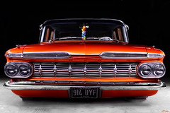 Lower(Ed) (LED Eddie) Tags: chevy chevrolet 1959 59 parkwood custom vintage 1950s orange chrome american classic v8 longexposure lightpainted automobile usa yank