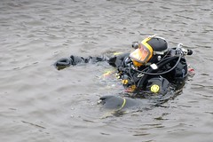 Backing away from the river bank (chemsuiter) Tags: divetraining diveteam drill mabas sheboyganriver diver drysuit