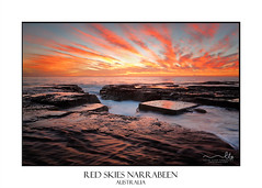 Red skies over North Narrabeen Australia (sugarbellaleah) Tags: sunrise travel tourism beach idyllic marvelous wet reflections narrabeenaustralia ocean seascape sky red yellow flowing rockchannel seaside place destination landscape clouds nature environment vacation holiday getaway water natural relaxation tranquil