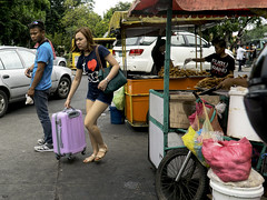 Coming or Going ? (Beegee49) Tags: street filipina suitcase vendors selling chicken bacolod city philippines