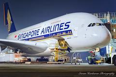 9V-SKA Singapore Airlines Airbus A380-841 - cn 003 (Sri_AT72 (Sriram Hariharan Photography)) Tags: singapore airlines airbus a380 a380800 9vska msn 003 sq sia mumbai csia international airport chhatrapati shivaji airside night photography victor tango aviation vtaviation passion plane spotter spotting october 2016