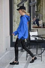 Chiara Ferragni in vinyl pants (PVC Fashion) Tags: chiara ferragni shiny sexy pvc vinyl plastic pants trousers fashion clothing beauty celebrities celebrity women