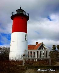 Nauset Light (moniquef123) Tags: lighthouse capecod coast building landscape red white blue sky ocean seashore sunny weather weatherphotography