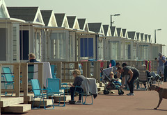 Beach huts at St Annes - 1 (Tony Worrall) Tags: north country place visit area county attraction open stream tour urban candid people person capture outside outdoors caught photo shoot shot picture captured picturesinthestreet photosofthestreet resort england english northwest town northern location lancs lancashire uk fylde fyldecoast stannes beach huts sunlit relax hut sunny holiday holidaytown beachhuts stannesbeachhuts