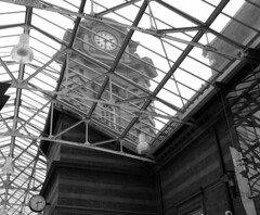 Nottingham Station. Sept 2016 (SimonHX100v) Tags: nottinghamstation historicengland gradeiilisted nottinghamcitycouncil networkrail eastmidlandstrains trainstation clock lowpov blackandwhite blackwhite monochrome monotone greyscale grayscale bw bnw perspective pointofview pov nottinghamtrainstation nottinghammidlandstation midlandstation eastmidlandtrains nottingham nottinghamshire eastmidlands england uk unitedkingdom gb greatbritain history historic simonhx100v sonydschx100v sonyhx100v hx100v outdoor outdoors outside english britain british