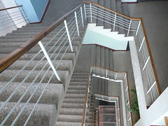 Perspective View of a Staircaes Leading Down (Creative Marani) Tags: architecture baluster below building constructiondesign floor form interior level marble movingup pairofstairs pairofsteps perspective progress rectangular square stair staircase stairway stairwell step shutterstock