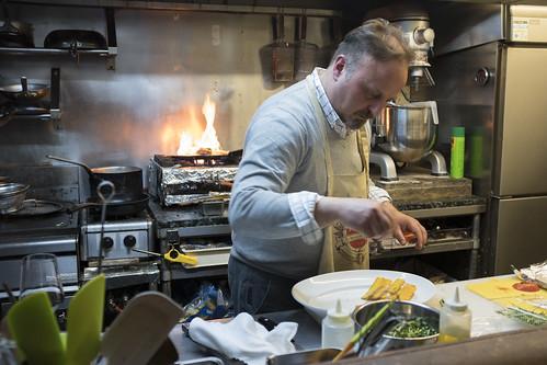 Italian expat Antonio Mariani cooking in his restaurant in Fukuoka, Japan