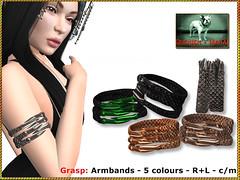 Bliensen - Grasp - Armbands (Plurabelle Laszlo of Bliensen + MaiTai) Tags: fantasyjewelry collar armbands warrior gor gorean demonic demon wizard witch antique roman gladiator viking norse