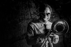 Jazz Portraits - Dennis Rollins (darren.cowley) Tags: dennisrollins darrencowley jazz musician trombone blackandwhite monochrome portrait maltcross nottingham caves brickwork smile