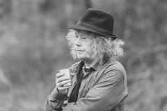 Thoughtful (Frank Fullard) Tags: frankfullard fullard thoughtful coffee drink hat hair curls monochrome blackandwhite portrait candid street castlebar mayo irish ireland puppeteer loughlannagh cvaffine caffinefix fix