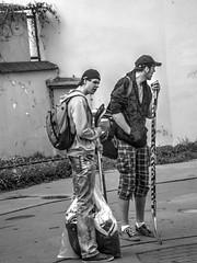 Hockey Players B&W (Kojotisko) Tags: street people bw streetphotography brno cc creativecommons czechrepublic streetphoto persons fujifilmfinepix photomatix fujifilmfinepixsl1000 fujifilmfinepixsl1000kojotisko