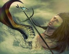 Ymir~Neptunus (Skip Staheli *11 YEARS SL PHOTOGRAPHY*) Tags: ocean sea water god avatar sl digitalpainting fantasy secondlife legends dreamy splash virtualworld skipstaheli