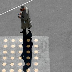 business appointment? (overthemoon) Tags: shadows switzerland suisse schweiz svizzera romandie vaud lausanne people walking man line diagonal dots cellphone bsquare flon square utata:project=fromabove