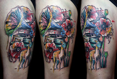 watercolor gramaphone poppy dear tattoo (Deanna Wardin @ Tattoo Boogaloo) Tags: sf sanfrancisco music tattoo watercolor painted leg poppy dear gramaphone deannawardin tattooboogaloo