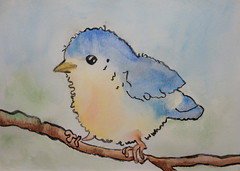 Little bird, by Beatriz - DSC07408 (Dona Minúcia) Tags: cute art animal watercolor painting paper arte passarinho study ave fofo pintura aquarela gracinha littlebird