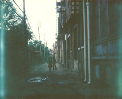 lost city (Lisa Toboz) Tags: selfportrait polaroid pittsburgh dancing alleyway northside spectra rustbelt instantfilm withjeff impossibleproject