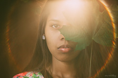 Rosenberg-Ana_-7 (Ana~Rosenberg) Tags: sunset sun green leave girl lensbaby rainbow flare seeinanewway composerpro edge80