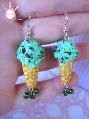 Mint Chocolate Chip Ice Cream Earrings II (Kate's Creations) Tags: birthday pink red ice cake miniature strawberry berry chocolate cream mint mini jewelry velvet ring clay donut penny worlds chip vanilla earrings smallest polymer funfetti confetty newetsystuff