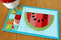 Watermelon Mug Rug (The Patchsmith) Tags: summer pattern quilt watermelon patchwork applique miniquilt mugrug patchsmith