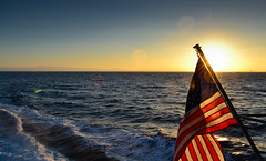American Flag off the Coast of Catalina Island, California (tr0mbley) Tags: california sunset nature water ferry america landscape island coast boat catalina nikon scenery san flag 4th july pedro american express fourth d3100