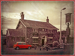 Heatons Bridge Inn (Jason 87030) Tags: camera uk greatbritain blue red england sky sun look car weather animals clouds digital photoshop vintage outdoors photography photo interesting fantastic pub inn travels flickr shot northwest unitedkingdom tag images retro collection photograph voyeur bmw capture bang effect olde 2014 ormskirk scarisbrick heatonsbridge captureimagesimagegalleryflickr tags035jasonrodhouse