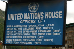 blue sign listing U.N. agency offi