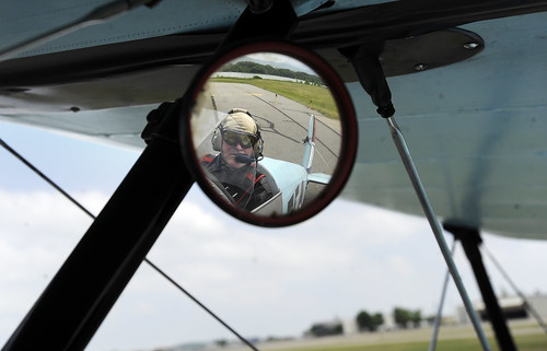 Photo - Flying in a World War II-era Bücker Jungmann German Biplane